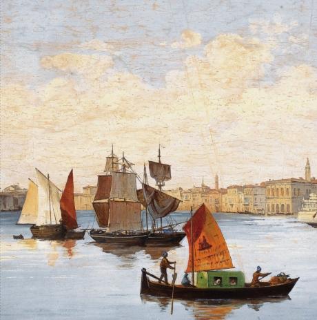Giovanni Biasin, Panorama di Venezia (part), 1887, tempera su carta,
