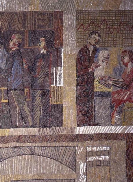 Particolare del ciclo musivo del Palazzo del Ministero dei Lavori Pubblici a Genova, mosaico, 1955-56